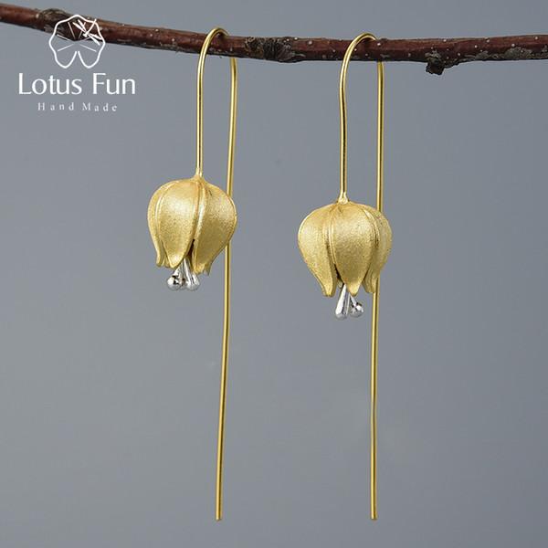 Lotus Fun Eternal Love Tulip Flower Dangle Earrings Real 925 Sterling Silver Handmade Fine Jewelry Earrings for Women Bijoux