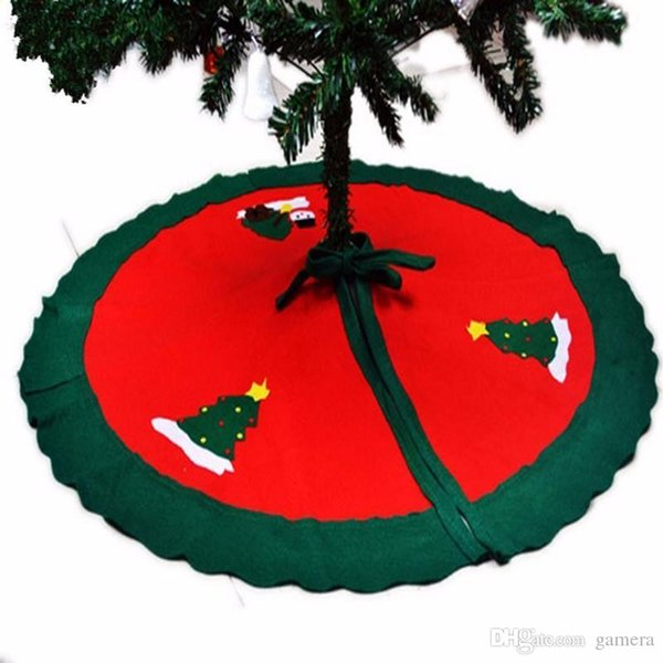 Wholesale- 1PC 90CM xmas Santa Claus Snowman Christmas red Tree Skirt ornaments Blue Nonwovens new year decorations items for home