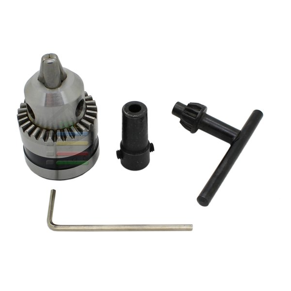 drill chuck parts New Drill Chuck 0.6-6mm Mount B10 Taper with 5mm Connector Rod Motor Shaft Key Wrench Power Tools