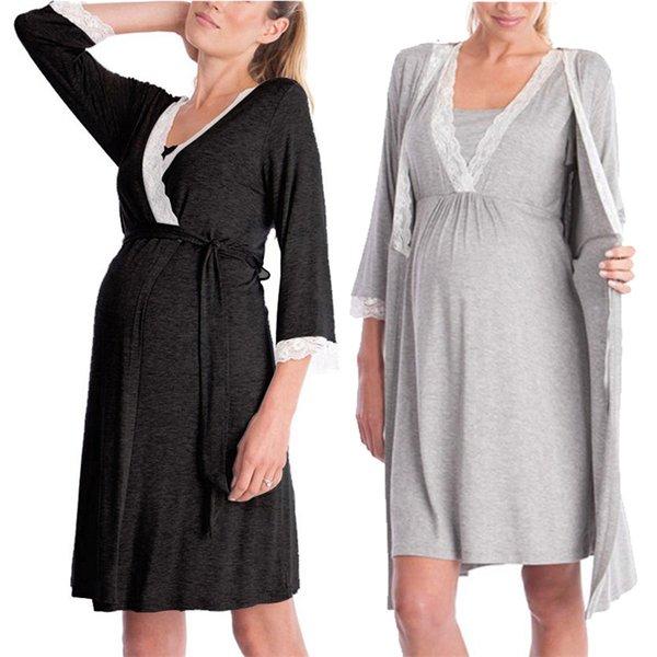 2018 nuova moda europea e americana maniche in pizzo cuciture abito premaman abito abito pigiama marea due pezziMX190910