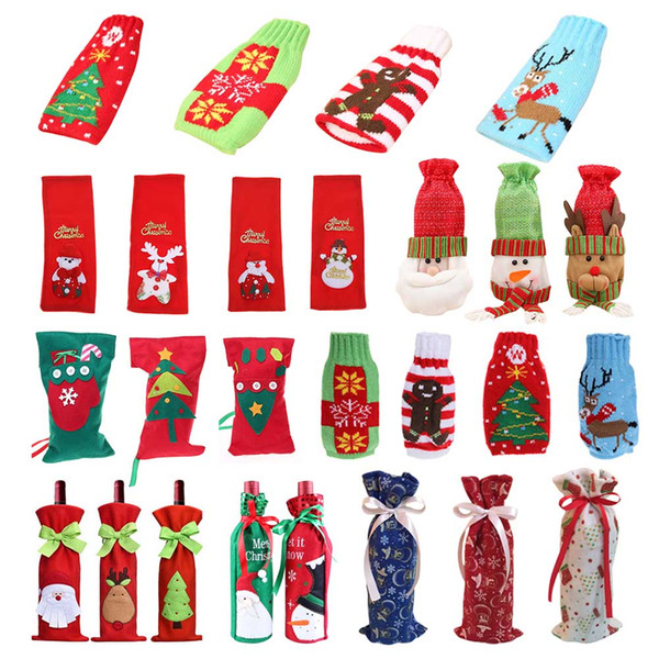 1 Piece Red Wine Bottle Cover Bags Christmas Dinner Table Decoration Home Party Decors Santa Claus High Qulity