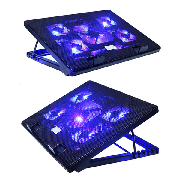 12-17 inch Quiet Laptop Cooling Pad USB Laptop Cooler Portable USB Air-cooled Fan With 5 Cooling Fans blue Light Stand