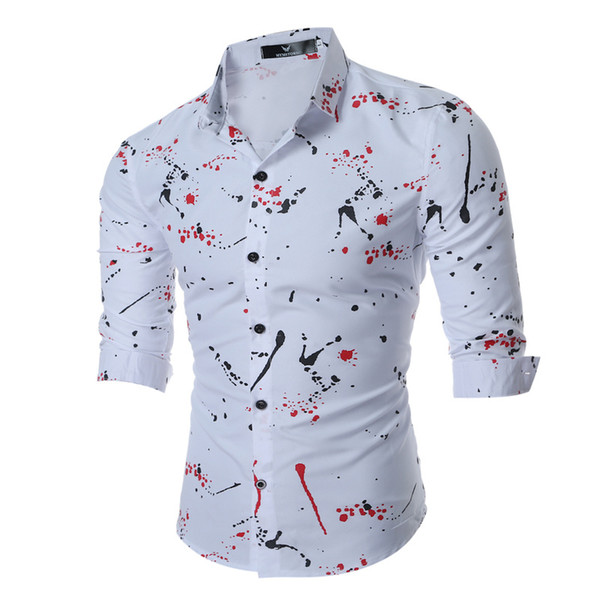 2019 Nova Primavera dos homens Camisa Ocasional Flor Impressão Casual Camisa Dos Homens de Manga Comprida Respirável Escritório Camisas de Vestido Dos Homens