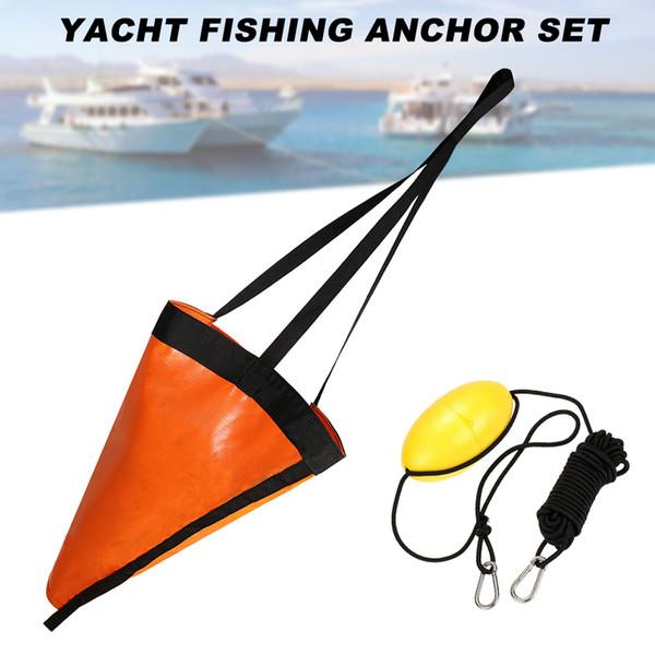 2019 Nuevo calcetín de deriva de ancla de mar de 24/32 pulgadas Droga de calcetín de arrastre con Kayak Tow Rope Line Booy Ball ALS88
