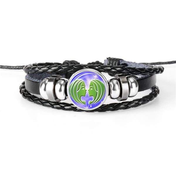 2019 New Leather Rope Beaded Bracciali Wrap Multistrato 12 Costellazioni Zodiac Gemini Gemma di Tempo Cabochon in Vetro Braccialetti per Donna Uomo Gioielli