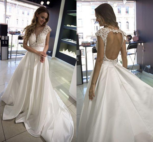 Discount Lace Cap Sleeves A Line Satin Wedding Dresses Vintage Sheer Crew Neckline Open Back Bridal Gown Long Court Train Simple Vestidos Al3080