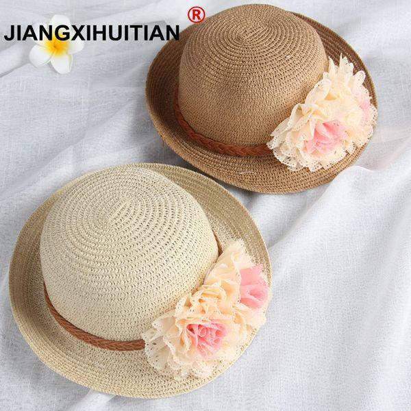 wholesale Summer Kids Floral Straw Hats Fedora Hat Children Visor Beach Sun Baby Girls Sunhat Wide Brim Floppy Panama For Girl D19011106