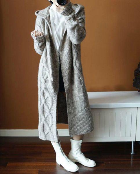 Avrupa Kadınlar Sonbahar Kış Kapşonlu Uzun Örme Trençkot Kadın Kore Moda Yün Kalın WINDBREAKER Kazak Coat