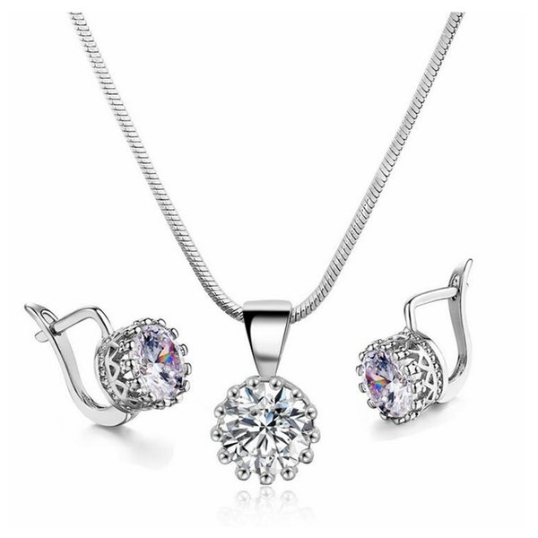 European and American fashion crown Pendant Necklace Earrings suit popular zircon jewelry