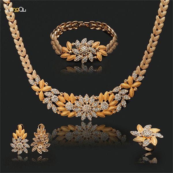 Vente en gros de bijoux de mode avec perles africaines Vente en gros de bijoux Dubai Gold-colour flower Set