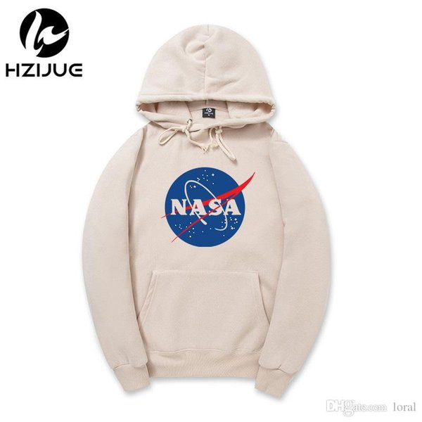 Spring New NASA Hoodies Men Casual Fleece Pullovers Hooded Sweatshirts Long Sleeved Tops Harajuku