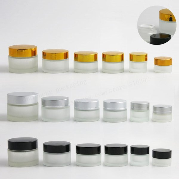 500 x 50g 30g 20g 15g 10g 5g Frost Glass Cream Jar with silver gold black lids 1oz Glass Container Cosmetic Packaging
