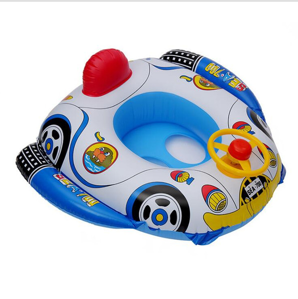 best selling Cartoon children swimming circle Thickened pvc inflatable seat ring for swimming steering wheel trumpet Swimming boat inflatable floats