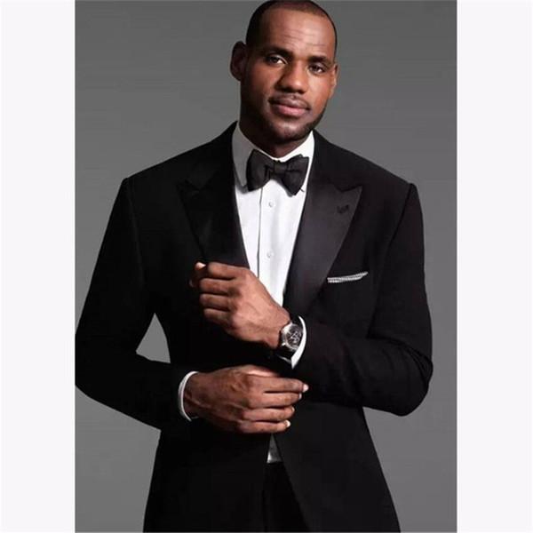 grosses soldes 50% de réduction style le plus récent Acheter Costume Noir Personnalisé Avec Revers Blanc Veste + Pantalon +  Cravate Tuxed Groom Groomsmen Porter Des Blazer De Mariage Costumes Pour  Hommes ...