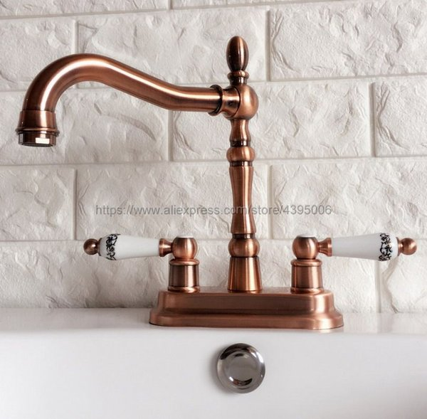 Antique Red Copper Double Handle Bathroom Wash Basin Mixer Taps / 2 Hole Deck Mounted Swivel Spout Vessel Sink Faucets Brg051