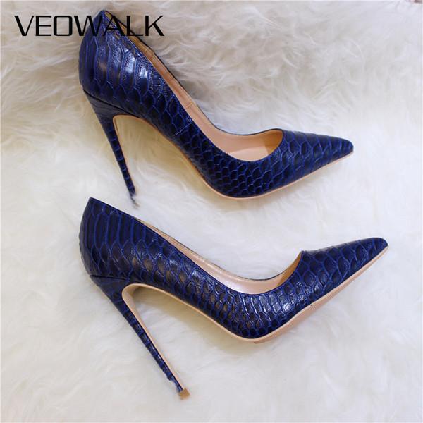 Veowalk serpente sexy delle donne della pelle in rilievo l'alto calza stile italiano Navy Blue modo delle signore estremamente elevata Stiletti Pumps CJ191217