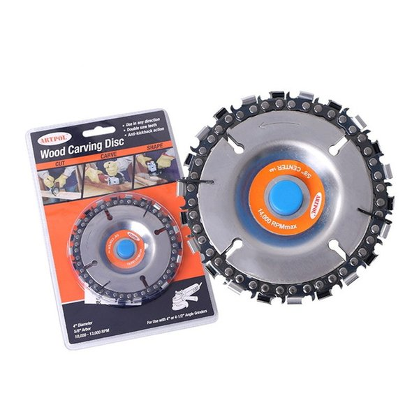 5 Inch grinder disc 14 tooth fine chain Saw plate wood Carving Slotted Saw Cutting Blade For 125 22mm Angle Grinder Accessories