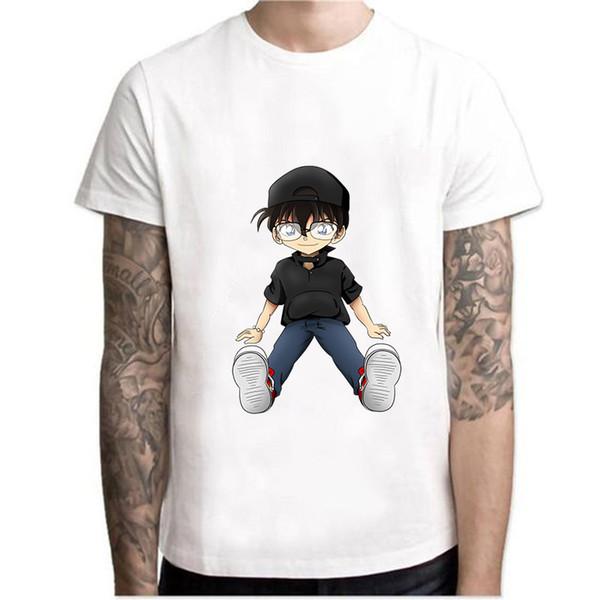 Detetive Conan T-Shirt Dos Homens / Mulheres camiseta dos desenhos animados Anime Top Tees 100% Algodão Vestuário Casual Menino Gráfico Básico harajuku t camisa