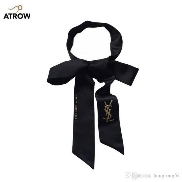 Yeni siyah uzun ipek dar ipek profesyonel kısa kravat kadın gelgit dekoratif kurdele çanta kemer Kore versiyonu hediye kutusu eşarp