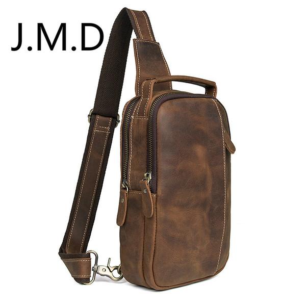J.M.D Bolso de cuero genuino de los nuevos hombres en el pecho Bolso de hombro del mensajero del cuero del caballo loco 4009