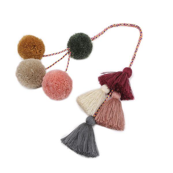 2019 moda estilo boêmio nova cinza borla rosa chaveiro saco da senhora ou artesanal cabelo carro bola pingente de chave de jóias anel B006 presente
