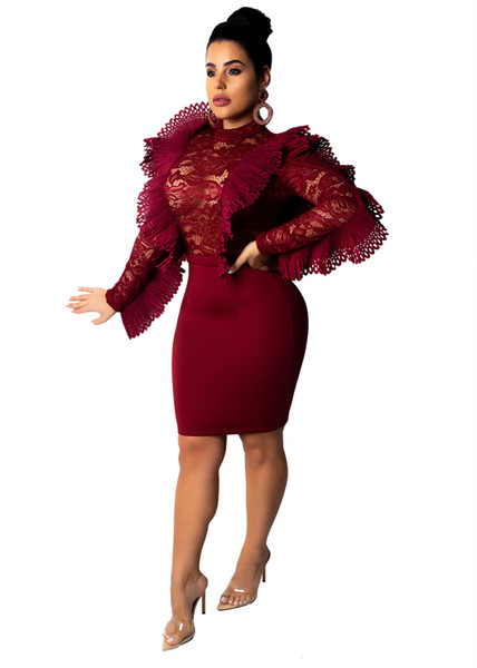 Бургундия Ruffle Прозрачное кружево Bodycon платье O шеи с длинным рукавом империи оболочка мини ночной клуб ну вечеринку платья женщины
