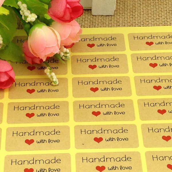 120 Pcs Candy paper tags/Thank You love self-adhesive stickers kraft label sticker For DIY Hand Made with love Gift Cake