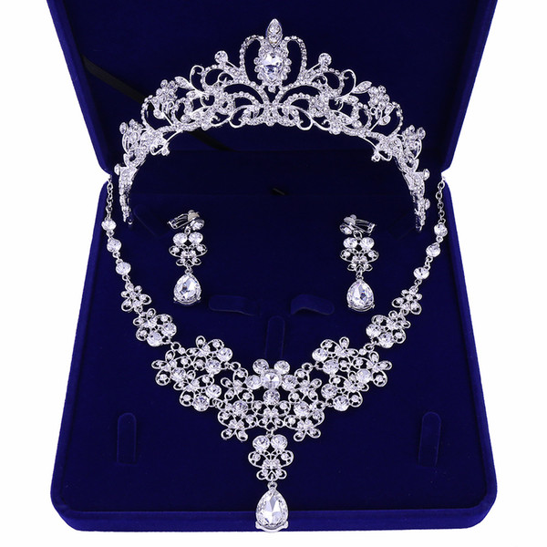 Diamond Wedding Crows Wedding Accessories Bridesmaid Jewelry Accessories Bridal Accessories Set With Box(Crown + Necklace + Earrings)
