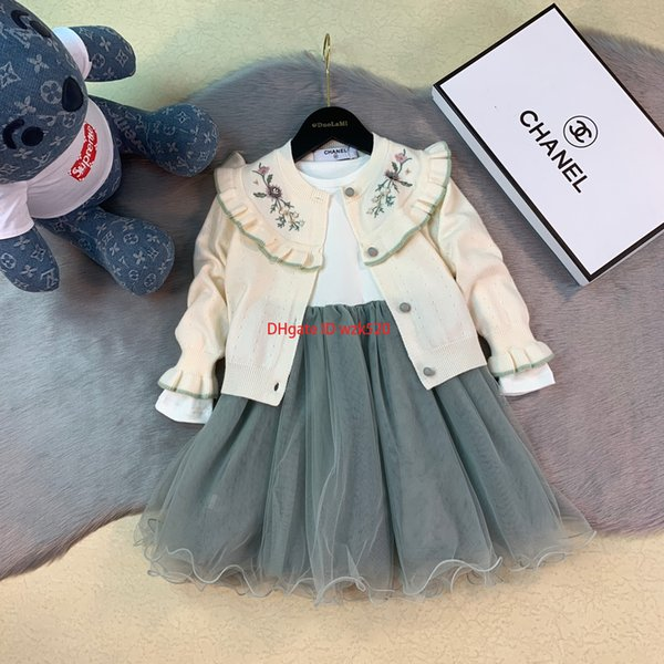 Girls sweaters sets kids designer clothes sweater + cotton vest mesh skirt 2pcs flowers and pearl beaded design autumn sets2019