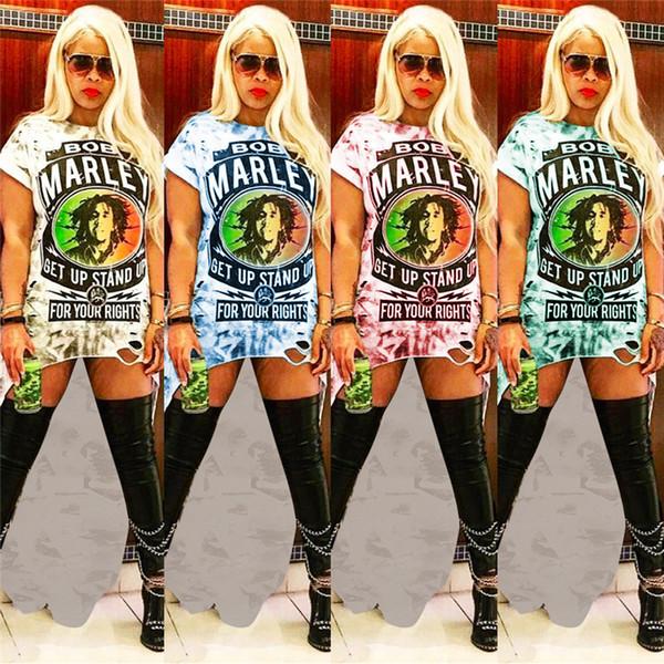 Abiti Rock Donna Bob Marley Lettera Vestiti stampati a fiori lunghi Abiti con maniche irregolari T-Shirt Donna estate A coda di rondine Gonna corta New C5901