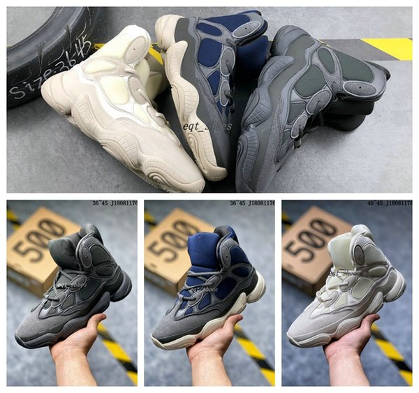 2020 Kanye West 500 Yüksek Top Slate Kemik Beyaz Taş 500 çöl faresi Siyah Kadın Erkek Spor Yüksek Top açık hava spor ayakkabı