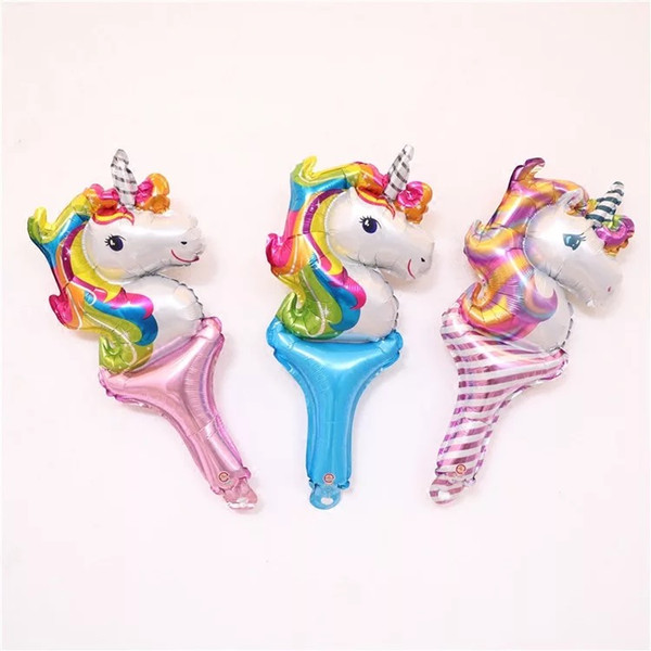 Unicorn Handheld Foil Balloons Cheering Stick Ballon Air Inflatable Globos Birthday Unicorn Party Decorations Kids Toys