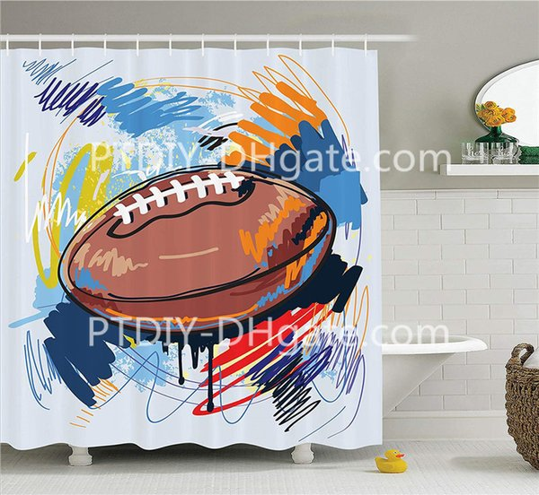 Sports Decor Shower Curtain Set Diamond Shape Rugby Ball Sketch with Colorful Doodles Passing Professional Equipment League