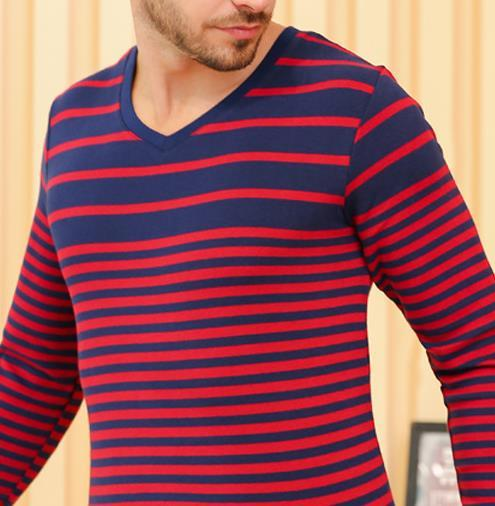 Bangwei man striped comfortable velvet warm suit soft breathable long Johns pure color knitted warm underwear man