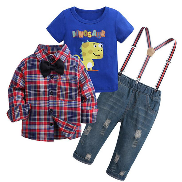 Sonbahar giyim setleri 2019 bahar resmi gömlek hırka + Karikatür T-shirt + tulumları pantolon 3 adet ekose uzun kollu çocuk giyim