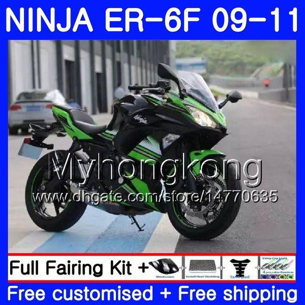 KAWASAKI NINJA Için yeşil siyah sıcak 650R ER 6F ER-6F 2009 2010 2011 252HM.29 Ninja650R ER6 F ninja650 ER6F 09 10 11 Fairing Kiti + 7Hediyeler