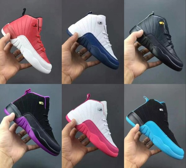 2018 Bebek Erkek Kız 12 s Spor Salonu Kırmızı Fransız Mavi Çocuklar basketbol Ayakkabıları 12 Bordo Çocuk Spor Erkek Kız tasarımcı Sneakers Boyutu 28-35