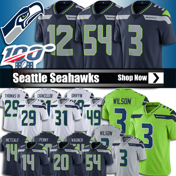 premium selection aebd8 09c1a 2019 3 Russell Wilson Seattle Seahawks Jersey 54 Bobby Wagner Footballl  Jerseys 49 Shaquem Griffin 14 Metcalf Jersey 12th Fan 31 Chancellor Cheap  From ...