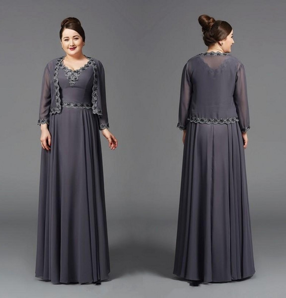 Unique Design A Line V Neck Mother Of The Bridal Dresses With Long Sleeve  Jacket Floor Length Grey Chiffon Appliques Women Formal Gowns Mother Of The  ...