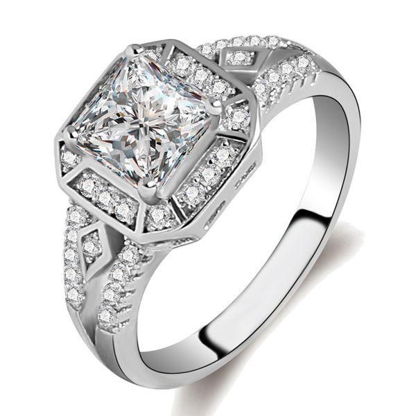 New Fashion Platinum Jewelry Zircon Square Statement Sposa Anelli per le donne Anillos Mujer Anel gioielli in argento 925