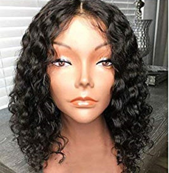 """Short Curly bob Human Hair Lace Front Wigs 130% Density Brazilian Virgin 12"""" Curly Wig with Baby Hair for Black Women"""