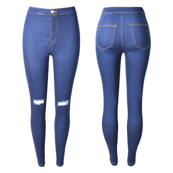 Casual Long Jeans for Women 2019 Spring Ripped Keen Hole Slim Fit High Waist Skinny Blue Pencil Denim Pants Plus Size