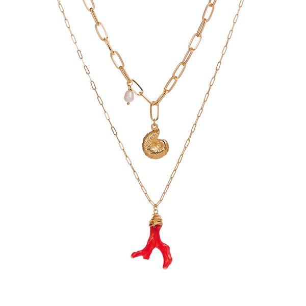 Tasarımcı kolye takı 17 stilleri çok katmanlar kolye kadın choker ile kabuk inci denizyıldızı kolye altın kaplama deniz serials NE961