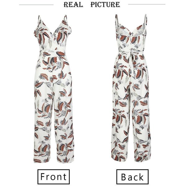 Women Clubwear Summer Floral Print Playsuit Loose V neck Party Jumpsuit Romper Trousers Fashion Women Girl Leotard