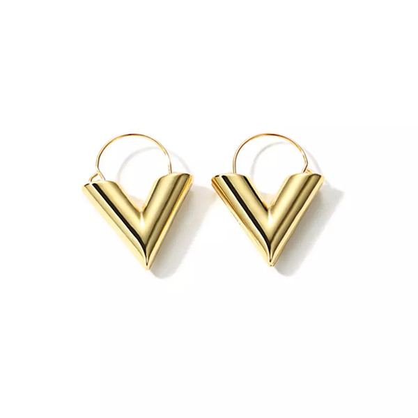 whole saleLWONG 2018 Fashion Gold Color Initial V Earrings for Women Geometric V Hoop Earrings Minimal Simple Everyday Jewelry