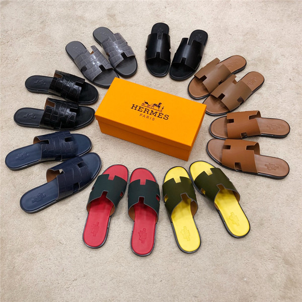 2019 nueva calidad de la llegada Zapatillas de Hombre Zapatos de Diseñador de Lujo Deslice la Moda de Verano Ancho Plano Sandalias Resbaladizas Zapatilla mejores zapatos