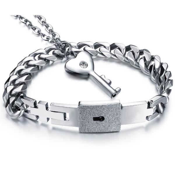 Couple Lover's Jewelry Sets Necklace Bracelets Women Men Stainless Steel Lock Pendant Anniversary Friendship Gift 001