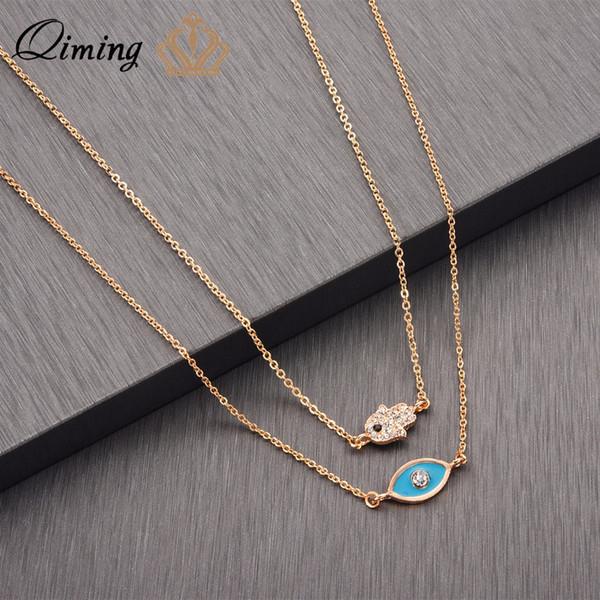 QIMING Blue Green Evil Eye Necklace Layered Tibetan Jewelry Accessories CZ Crystal Hamsa Colgante de mano Collar delicado regalo