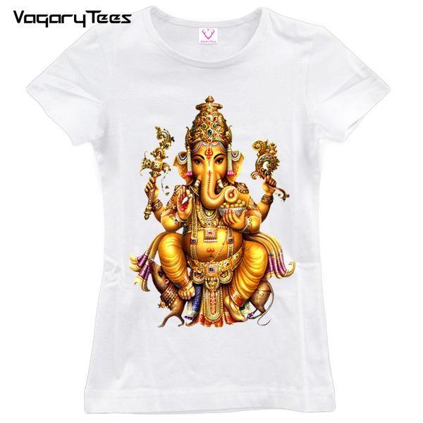 Camiseta de mujer 2019 Verano de Dios hindú Camiseta Mujer de manga corta con cuello en O India Ganesha Camiseta Shiva The God Top