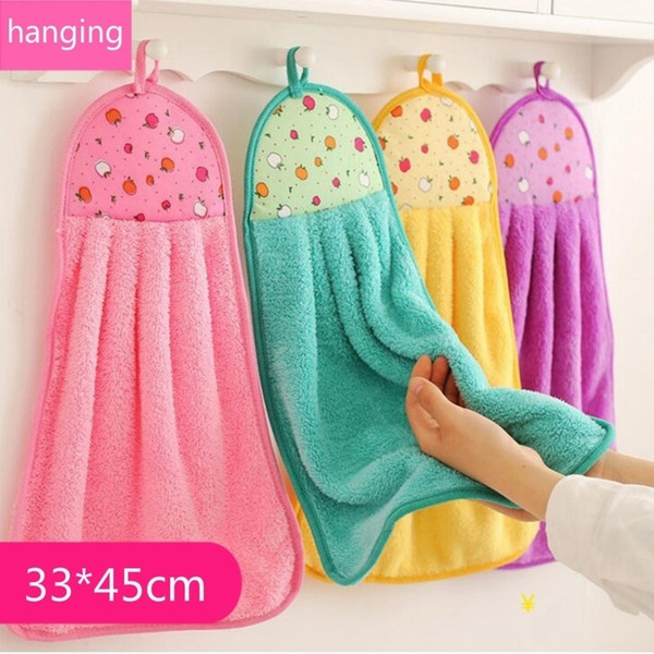 Factory wholesale, fast free shipping, kitchen, bathroom, hanging small towels, 7 colors, velvet without lint, quick-drying towel